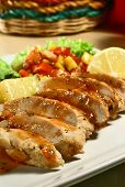 grilled chicken breast with mango salsa and baked potatoes