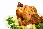 image of roast chicken  - roasted chicken with herbs - JPG