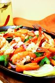 close up image of delicious spicy shrimps poster