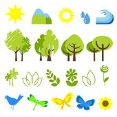 vector illustration of assorted nature icons