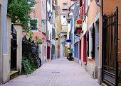 Old cobblestone street in Zurich in Switzerland