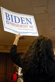 MCLEAN, VA - NOV 30, 2007: Senator Joe (Joseph) Biden's supporter holding a sign at the Democratic N