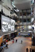 Atrium of Newseum in Washington DC, vertical
