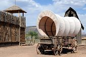 image of covered wagon  - Fortress with lookout tower and wagon in the old West - JPG