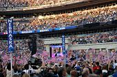 DENVER - AUG 28: Former presidential candidate Al Gore speaking at Invesco Field at Mile High Stadiu