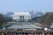 WASHINGTON - JAN 20: Record crowds attend the inauguration of U.S. President Barack Obama on January