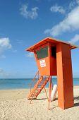 Lifeguard post on Waikiki Beach in Honolulu, Hawaii