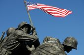 Closeup of Iwo Jima, the United States Marine Corps Memorial, in Arlington, Virginia