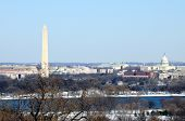Skyline of Washington DC in winter, including the Washington Monument, the National Mall and the Cap