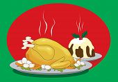Vector illustration of a Christmas dinner with roast turkey and Christmas pudding