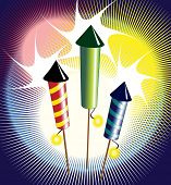 Vector illustration of fireworks - three colourful rockets exploding