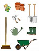 A vector illustration depicting gardening tools isolated on white. Retro style sketch.