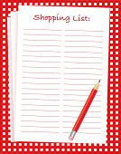 A vector illustration of a blank shopping list on a red and white tablecloth. Space for text.