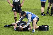 LONDON - May 1: Injured London Wasps player received physiotherapy during the Semi Finals of the Aml