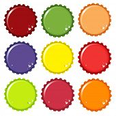 A vector illustration of metal bottle tops in various colours, with condensation water drops. Space