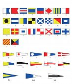 A complete set of Nautical flags for letters and numbers, including ordinal numbers.