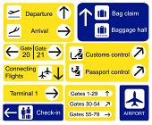 A selection of Airport signs. Also available in vector format.