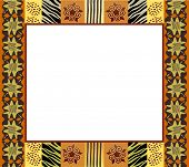 A vector illustration of an African style frame in earth tones. Space for your text or picture. Also available in vector format.