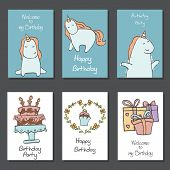 Collection Of Cute Birthday Cards. poster