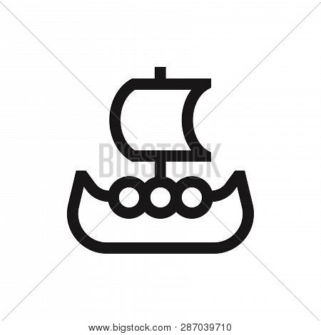 Viking Ship Icon Isolated On