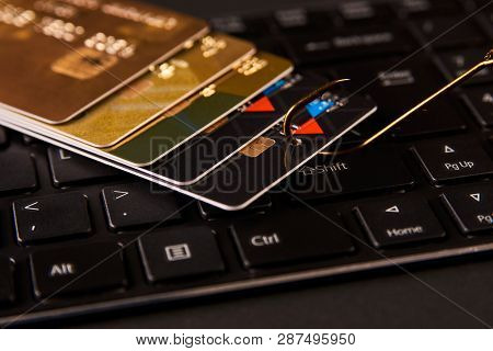 poster of Credit Card Phishing Attack Over Dark Background, Close-up
