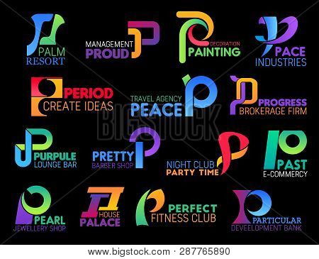Letter P Corporate Identity Icons