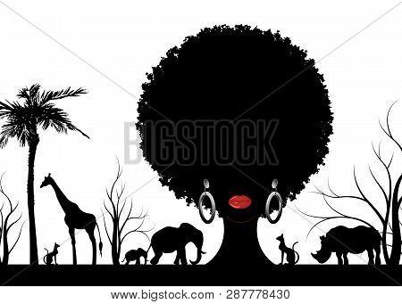 African Safari Animal Silhouette Landscape