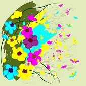 Bright flowers with color blots and butterflies