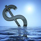 Dollar sinken und Sonne anzeigen Depression Rezession und wirtschaftlichen