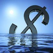 Dollar versenken im Meer mit Depression Rezession und econo