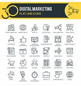 Set Of Modern Outline Icons Of Marketing,  Digital Marketing, Marketing Research And Other. Each Ico poster