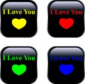 Set of vector buttons by Day of Valentine