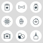 Vector Illustration Of 9 Medical Icons Line Style. Editable Set Of Drug, Urn, Cardiogram And Other I poster