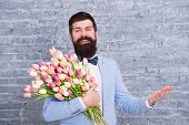 Spring Everywhere. Womens Day. Flower For March 8. Spring Gift. Bearded Man Hipster Love Flowers. Be poster