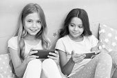 Kids Taking Selfie. Smartphone Application Concept. Girlish Leisure Pajama Party. Girls Smartphone L poster