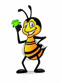 Cartoon Bee With Money