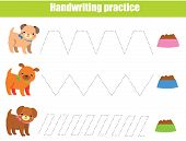 Handwriting Practice Sheet. Educational Children Game. Printable Worksheet For Kids. Tracing Lines E poster