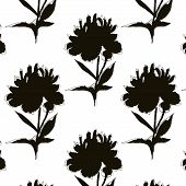 Black White Peony Illustration. Modern Mononchrome Repetition Art. Botany Pattern With Repetiotion B poster