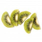 peeled kiwi fruit slices isolated on white background closeup. Half of kiwi slice. Kiwifruit slices  poster