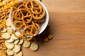 Salty Snacks. Pretzels, Chips, Crackers. Object. Close Up. Macro Photography poster