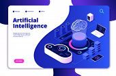 Artificial Intelligence Landing. Ai Smart Digital Brain Networking Neural Learning Intelligent Solut poster