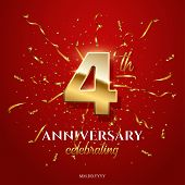 4 Golden Number And Anniversary Celebrating Text With Golden Serpentine And Confetti On Red Backgrou poster