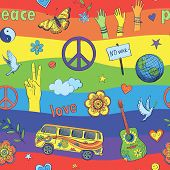 Cheerful Psychedelic Pattern . Against The Background Of Rainbow Colored Drawings In Hippie Style. P poster
