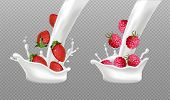 Milk Splash With Berry Fruits Vector Realistic. Strawberry And Raspberry Fresh Fruit In Milk Or Yogu poster