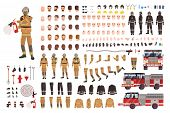 Firefighter Creation Set Or Diy Kit. Bundle Of Fireman Body Parts, Facial Expressions, Protective Cl poster