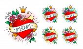 Set Of Classic Tattoo Heart With Flowers, Crown And  Ribbon With Words -  Mom, Grandma, Wife, Sister poster