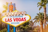 Las Vegas Welcome Sign Between Nevada Palm Trees. United States Of America. Famous Sin City Entrance poster