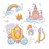 Cute Cartoon Magic Princess Icon Collection. Icon Princess Set With Princess Castle, Rainbow, Brough poster