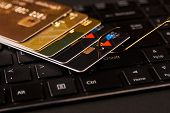 Credit Card Phishing Attack Over Dark Background, Close-up poster