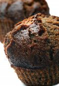 picture of chocolate muffin  - Close up photo of chocolate muffins on white background - JPG